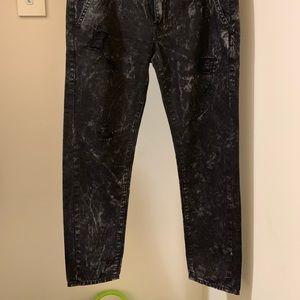 NEW True Religion Acid Wash Ripped Black Jeans